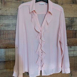 New York & Company pink blouse, size large